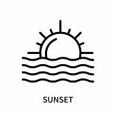 Sunset Icon Isolated On White Background. Sunset Icon Simple Sign. Sunset Icon Trendy And Modern Sym poster