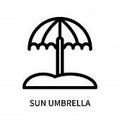 Sun Umbrella Icon Isolated On White Background. Sun Umbrella Icon Simple Sign. Sun Umbrella Icon Tre poster
