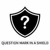 Question Mark In A Shield Icon Isolated On White Background. Question Mark In A Shield Icon Simple S poster