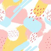 Handdrawn Pastel Seamless Background. Stylish Vector Design For Fabric, Wallpaper. Universal Card, P poster