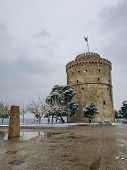 Thessaloniki, Greece Heavy Snowfall At The City Center.snow At The White Tower, The City Landmark. poster