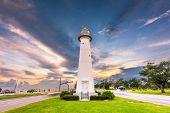 Biloxi, Mississippi USA at Biloxi Lighthouse at dusk. poster