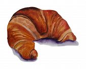 Handdrawn Watercolor Illustration Isolated On White Background. Colorful Croissant. poster
