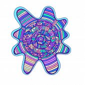Abstract Colorful Mandala, With Circle Pattern Maze Of Ornaments. Psychedelic Doodle Style. Vector H poster
