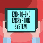 Text Sign Showing End To End Encryption System. Conceptual Photo Method Used For Securing Encrypted  poster