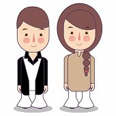People In 1970s Style Clothes, Cartoon Style Vector Illustration Isolated On White Background. Men A poster