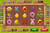 Vector Interface Slot Machine In Cartoon Wooden Style For Easter Holiday. Complete Menu Of Graphical poster