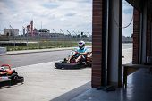 Go Kart Speed, Indoor Opposition Race. Karting Competition Or Racing Cars Riding Family Outdoor Acti poster