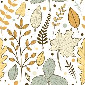 Vector Seamless Pattern With And Hand Drawn Fall Leaves. Autumn Mood. Floral Graphic Design.  Hand D poster