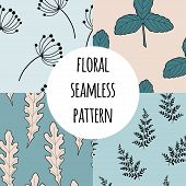 Wild Flowers Vector Seamless Pattern Set. Endless Pattern For Wallpaper, Pattern Fills, Web Page Bac poster