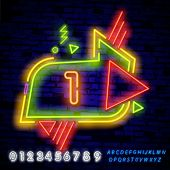 Neon City Font Sign Number 1, Signboard One. Vector Illustration. Geometric Shapes And Neon Glow Aga poster