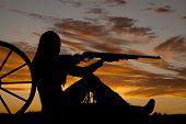 Woman Gun Wagon Silhouette