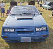 1980 Blue Ford Mustang Front View