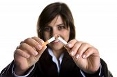 Young Woman Breaking Cigar Anti-tobacco Concept