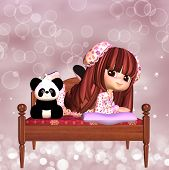 picture of slumber party  - A Cute Girl Slumber Party Invitation Card - JPG