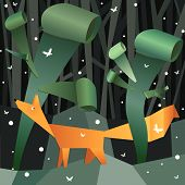 Bosque papel doblado con fox