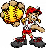stock photo of fastpitch  - Fast Pitch Softball Girl Cartoon Player with Bat and Ball Vector Illustration - JPG