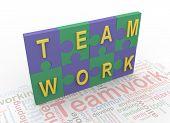 3D 'Equipo' de piezas de Puzzle con texto