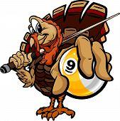 Billiards Nine Ball Thanksgiving Holiday Turkey Cartoon Vector Illustration