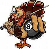 Billiards Eight Ball Thanksgiving Holiday Turkey Cartoon Vector Illustration