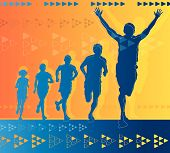 Abstract Winning Athlete ahead of a group of runners.