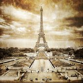 Eiffel Tower View From Trocadero Square, Vintage