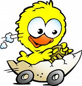 Hand-drawn Vector Illustration Of An Cute Baby Chicken Driving In A Eggshell