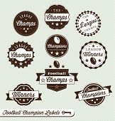 Vector Set: Vintage Football Champs Labels and Stickers