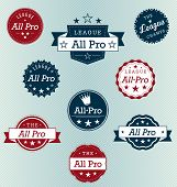Vector Set: Vintage All Pro Labels and Stickers