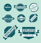 Vector Set: Vintage Employee of the Month Labels