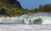 Big Wave At Tunnels Beach At Kauai