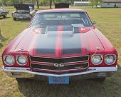 1970 Red Black Chevy Chevelle Ss Front View