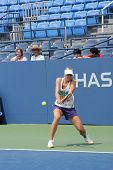 Professional tennis player and four time Grand Slam champion Maria Sharapova practices for US Open