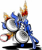 image of fastpitch  - Cartoon Vector Illustration of a Monster Baseball Pitching Machine with a huge engine and flaming exhaust pipes - JPG