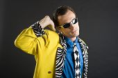 picture of rockabilly  - retro style rockabilly singer from 1950s in yellow jacket - JPG