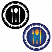 Illustration Of Spoon, Fork, Knife And Plate In Black And White And In Yellow, Orange And Blue Color