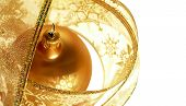 Gold Christmas Ornament In Ribbon