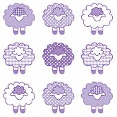 Baby Lambs, Patchwork Gingham and Polka Dots, Pastel Lavender