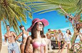 Group of young people on holidays at the tropical beach Travel Concept