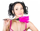 Isolated Hotel Maid Thinking With Feather Duster