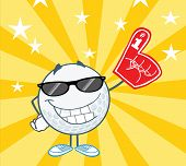 Golf Ball Character With Sunglasses And Foam Finger