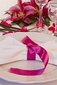 Wedding Place Setting With Lilies
