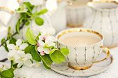 stock photo of apple blossom  - English tea in spring garden - JPG