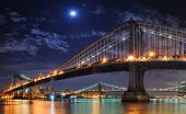 Brooklyn Bridge and Manhattan Bridge over East River at night with moon in New York City Manhattan w