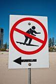 no surfing, beach sign