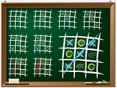 foto of tic-tac-toe  - Tic tac toe variations drawn on chalkboard - JPG