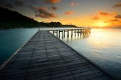 The Beautiful Wooden Bridge.with Sunrise At National Park Khao Leam Ya Thailand