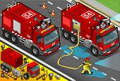 Isometric Firefighter Tank Truck In Front View