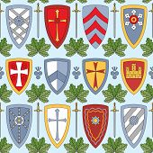 Seamless Pattern With Knightly Shields