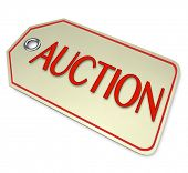 A price tag with the word Auction to attach to an item you are auctioning for sale to the highest bi